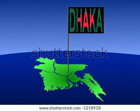 map of Bangladesh with position of Dhaka marked by flag pole illustration