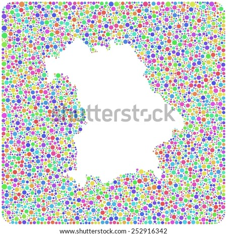 Map of Bavaria - German - into a square sign. Mosaic of harlequin circles - stock vector