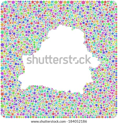 Map of Belarus - Europe - in a mosaic of harlequin circles - stock vector