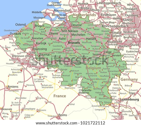 Map Belgium Shows Country Borders Urban Stock Vector 1021722112