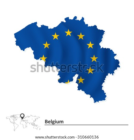 Map of Belgium with European Union flag - vector illustration - stock vector