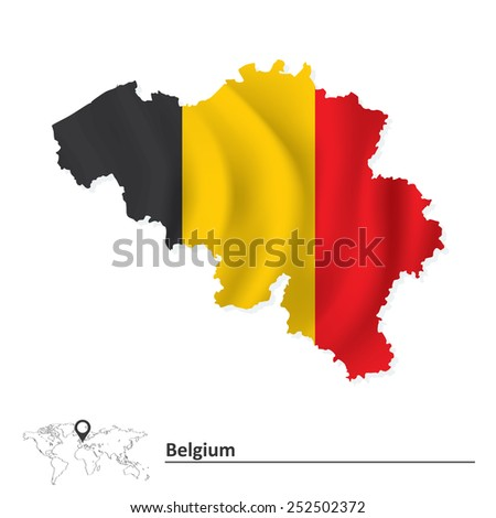 Map of Belgium with flag - vector illustration - stock vector
