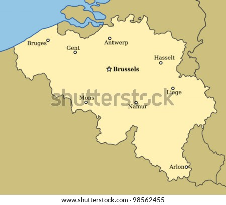 map belgium major cities brussels bruges stock photo photo vector illustration 98562455 shutterstock
