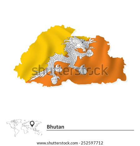 Map of Bhutan with flag - vector illustration - stock vector
