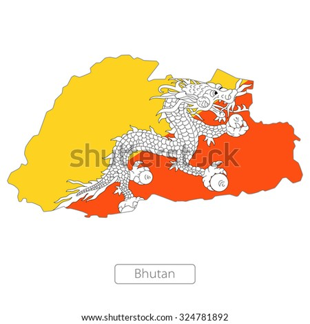 map of Bhutan with the flag - stock vector