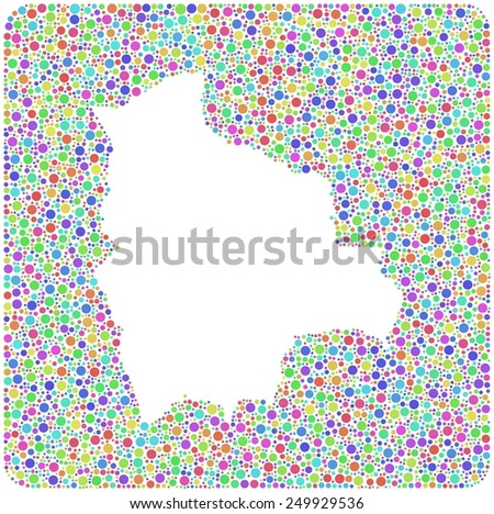 Map of Bolivia - Latin America - into a square icon. Mosaic of harlequin circles - stock vector