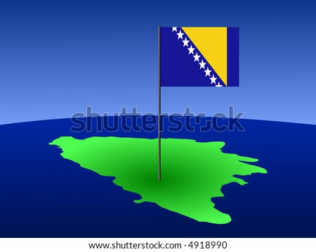 map of Bosnia and Bosnian flag on pole illustration