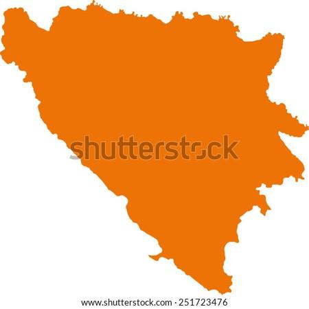 map of Bosnia and Herzegovina - stock vector