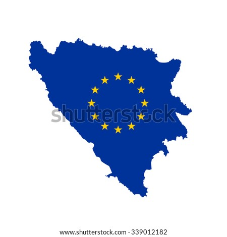 Map of Bosnia and Herzegovina in European Union flag colors - stock vector
