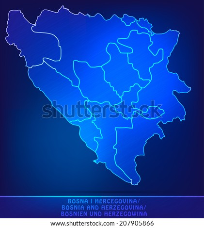 Map of Bosnia and Herzegovina with borders as scribble - stock vector