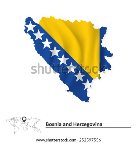 Map of Bosnia and Herzegovina with flag - vector illustration - stock vector