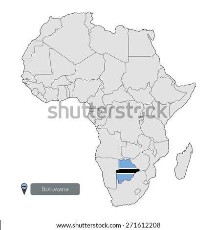 Map Botswana Official Flag Location On Stock Vector 2018 271612208