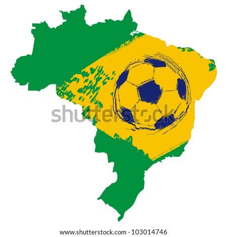 Map of Brazil football emblem - stock vector