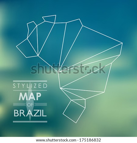 map of brazil. map concept - stock vector