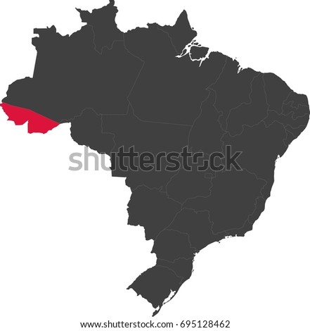 Map of Brazil split into individual states. Highlighted state of Acre.