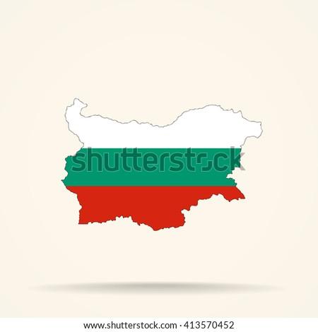 Map of Bulgaria in Bulgaria flag colors - stock vector