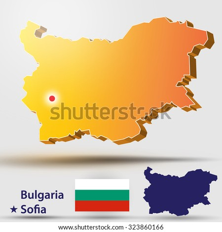 Map of Bulgaria. Vector silhouette of Bulgaria and the flag. The capital of the country - Sofia. - stock vector
