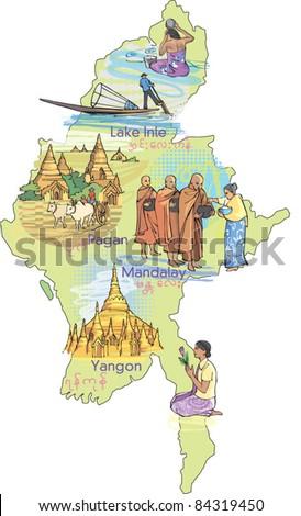 Map Burma Myanmar Stock Vector Shutterstock - Map of burma