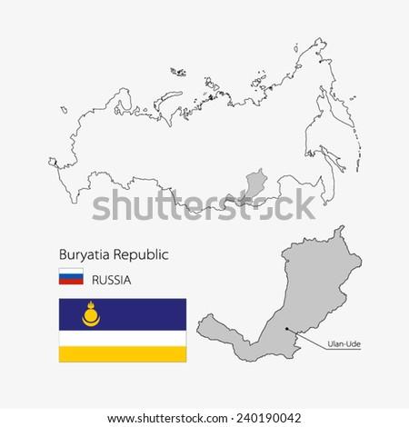 map of Buryatia republic. Region of Russia - stock vector
