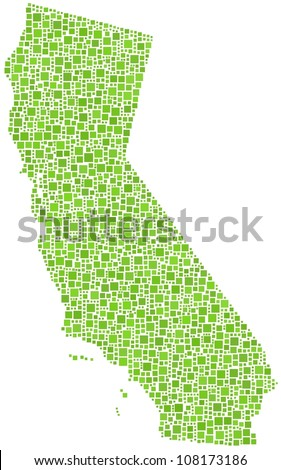 Map of California (USA) in a mosaic of green squares. A number of 2055 squares are accurately inserted into the mosaic. White background. - stock vector