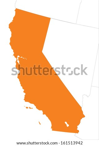map of California with outline of other states - stock vector