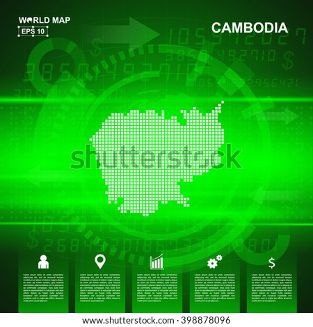 Map Of Cambodia,Abstract Green background, pixel vector illustration