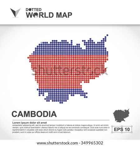 Map Of Cambodia Dotted Vector