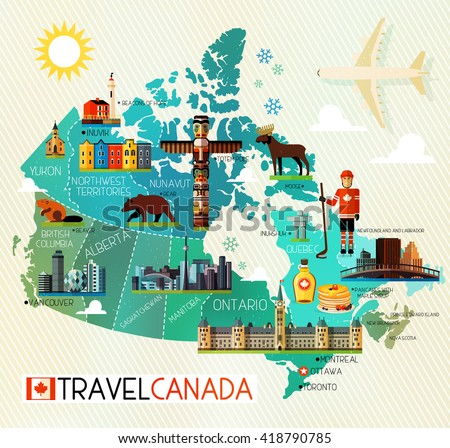 map of canada and travel icons canada travel map vector illustration