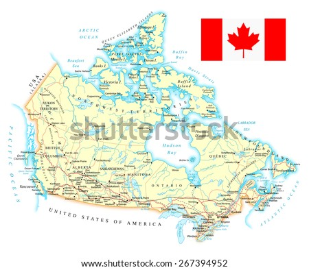 Map of Canada - detailed illustration - stock vector