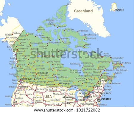 map of canada shows country borders place names and roads labels in english