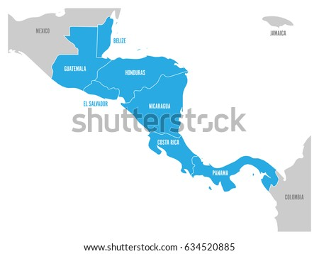 Map central america region blue highlighted stock vector 634520885 map of central america region with blue highlighted central american states country name labels gumiabroncs Gallery