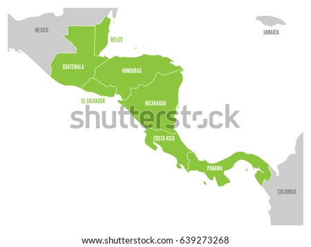 Map central america region green highlighted vectores en stock map of central america region with green highlighted central american states country name labels gumiabroncs Images