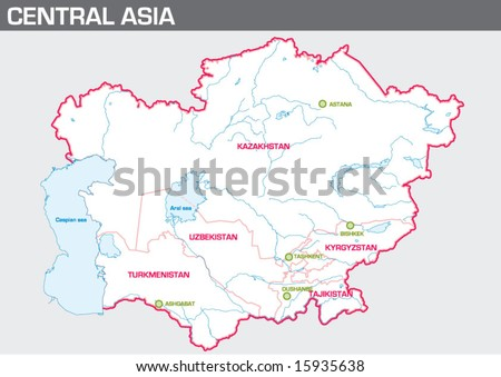 Map of Central Asia - stock vector