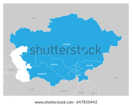 map of central asia region with blue highlighted kazakhstan kyrgyzstan tajikistan turkmenistan and