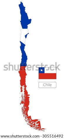 Map of Chile with an official flag. South America. Illustration on white background