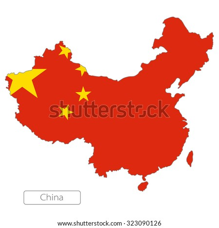 Map of China with an official flag. Asia  - stock vector