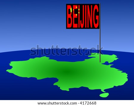 Map of China with Beijing Chinese flag