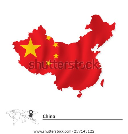 Map of China with flag - vector illustration - stock vector