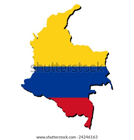 map of Colombia and Colombian flag illustration
