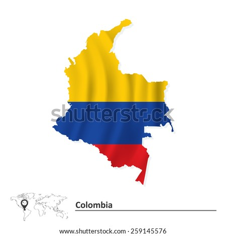 Map of Colombia with flag - vector illustration - stock vector