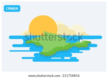 Map of Crimea in the flat style with decorative elements  - stock vector