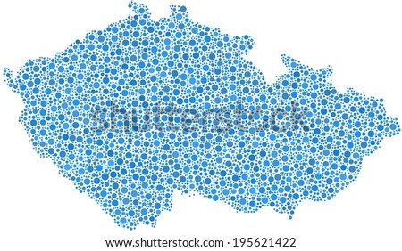 Map of Czech Republic - Europe - in a mosaic of blue circles - stock vector