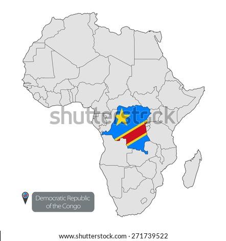 Map Democratic Republic Congo Official Flag Stock Vector 271739522