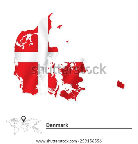 Map of Denmark with flag - vector illustration - stock vector