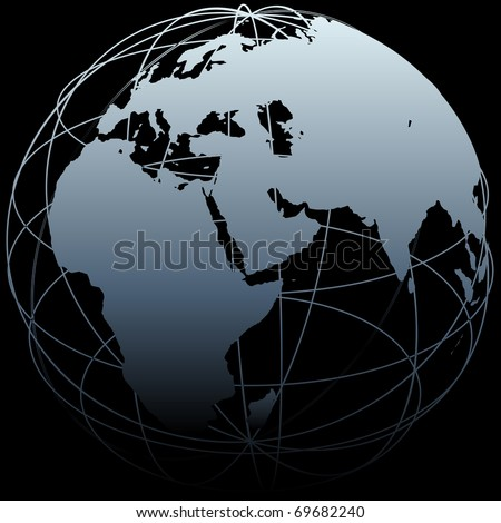 Map of Earth on a globe symbol with East West lines on a black background - stock vector