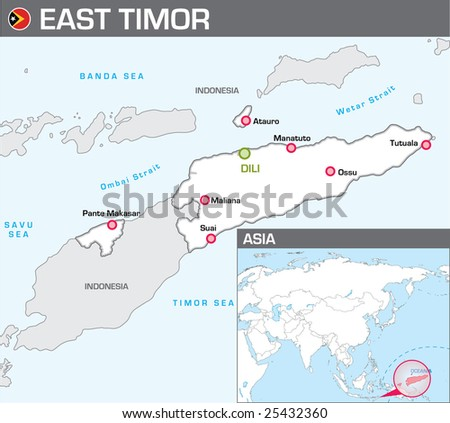 Map of East Timor - stock vector