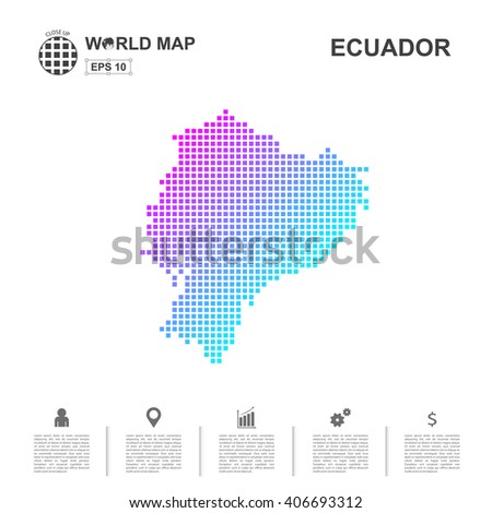 Map Of Ecuador pixel Vector - stock vector
