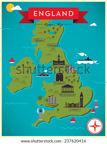 Map of England Illustration - stock vector