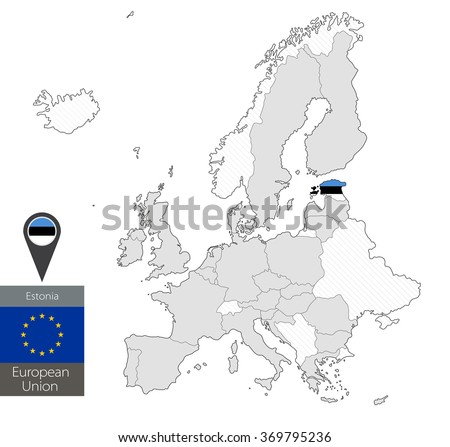 Map of Estonia with an official flag. Location on European Union map