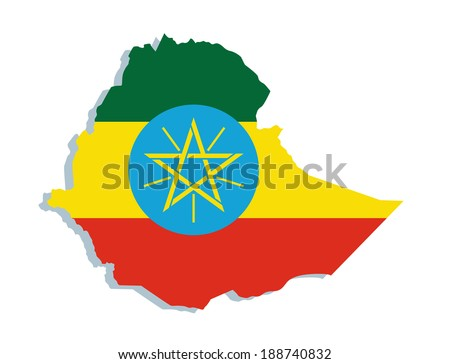 map of Ethiopia with the image of the national flag  - stock vector
